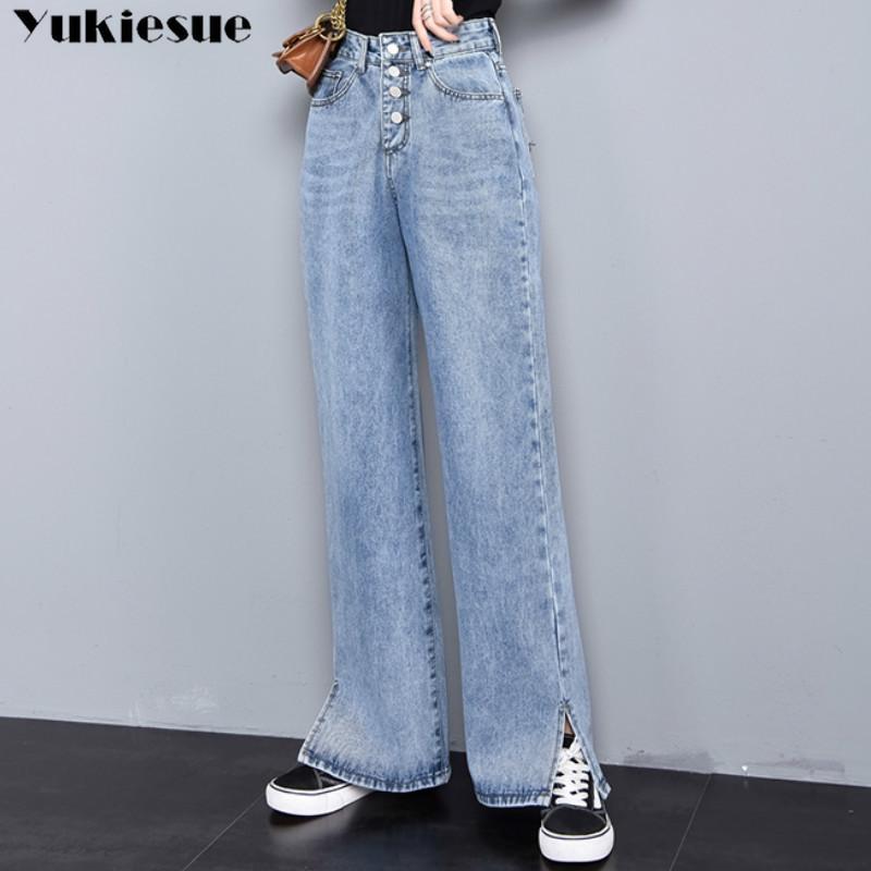 2020 новый высокой талией прямые джинсы Женщины весной дробить голубые Casual Сыпучие широкую ногу джинсы Брюки женские брюки плюс размер