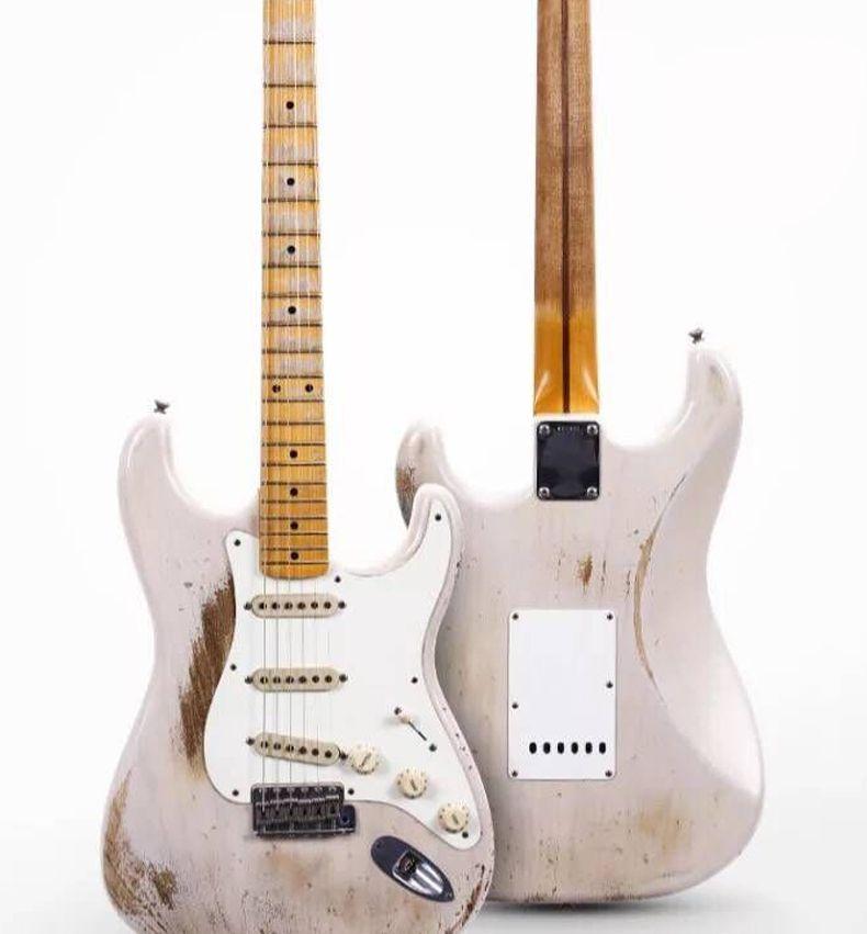 Nuova chitarra elettrica su ordinazione ST Standard, tastiera in acero guitarra, color.relics rosa da mani