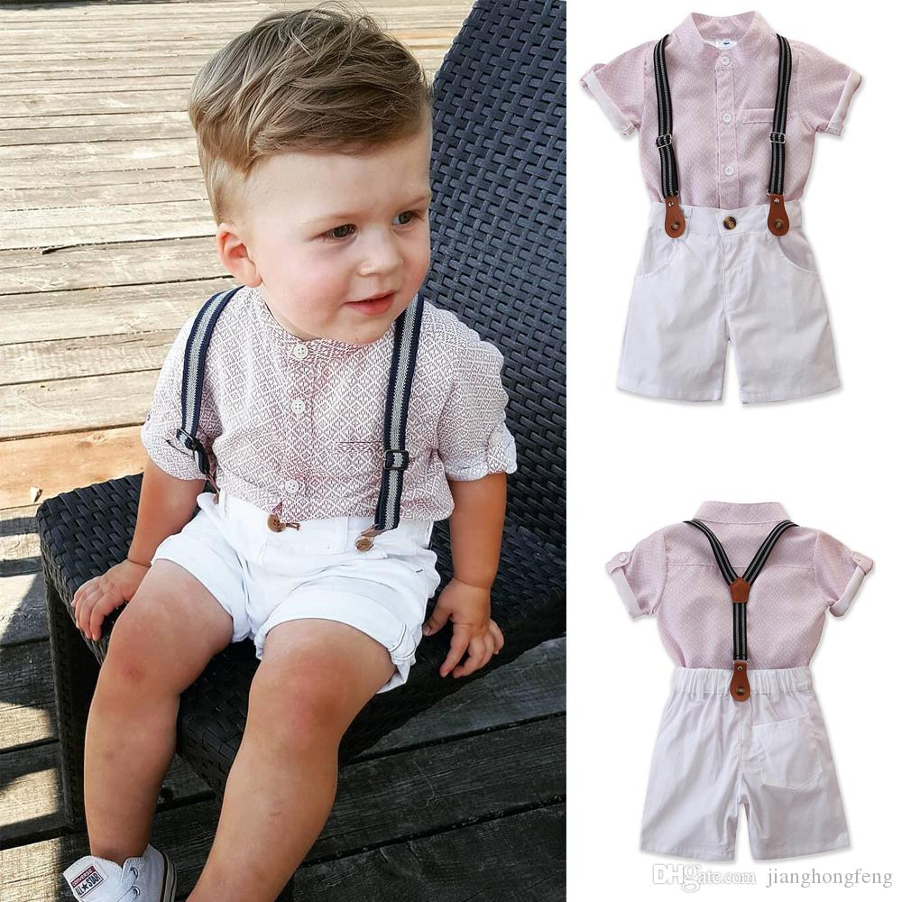 2020 hot sale new Toddler Baby Kids Boy Gentleman Shirt Top+Pants Shorts Clothes Party Outfit Set