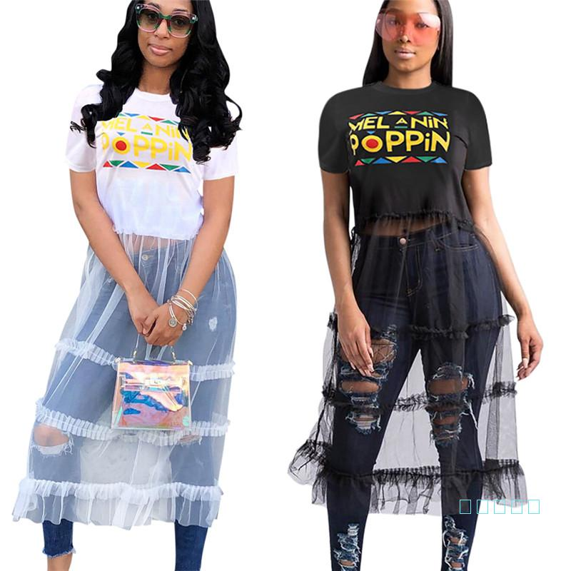 camisa de manga curta Mulheres malha Patchwork vestido longo S-3XL POPPIN Letter T + saia de malha One Piece Vestidos Festa Club Beach Pano 2019 C5904