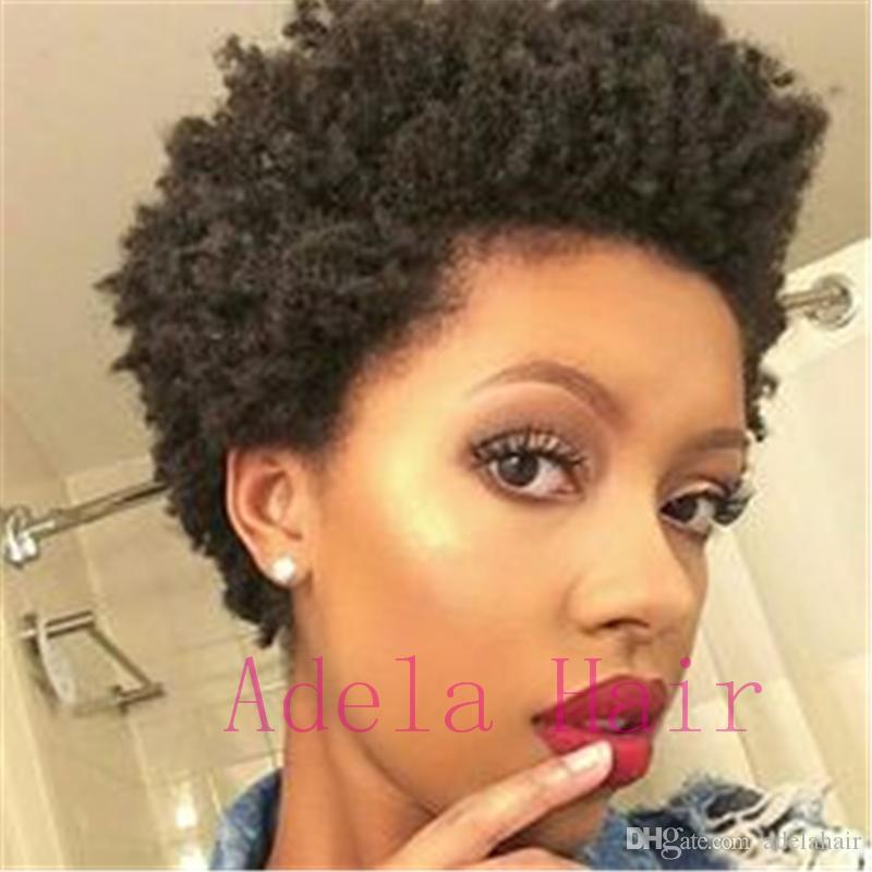 Парики человеческих волос Для Женщин 100% необработанные бразильские девственные волосы короткие вьющиеся парик нет кружева передний парик естественный черный цвет вьющиеся парик