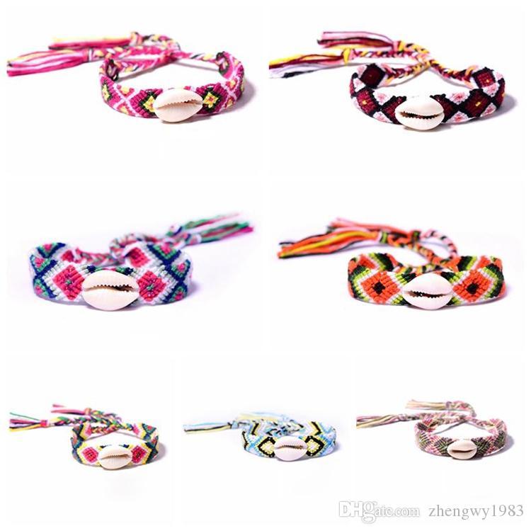 Bohemian intrecciato Shell braccialetto intrecciato bracciali con Shell Uomini Donne multi colore braccialetto estivo Holiday Beach gioielli 7styles ZFJ736