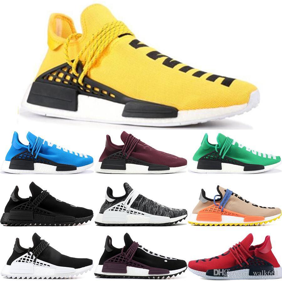 New Pharrell Williams Raça Humana NMD Homens Mulheres Casual Sapatos Preto Branco Cinza Nmds Primeknit PK Runner XR1 R1 R2 Sneakers US5-12