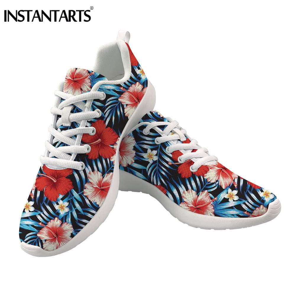 Womens Shoes Slipon Canvas Shoes Skateboard Sneakers Tropical Leaves Red Flowers Pattern Plimsoll Popular