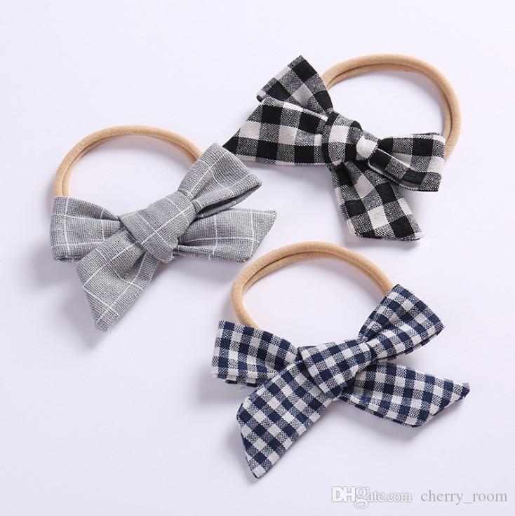 Enfants en coton à carreaux Bows hairbands boutique filles en tissu Bows princesse Porte-cheveux enfants Bowknot corde élastique de cheveux Y1377
