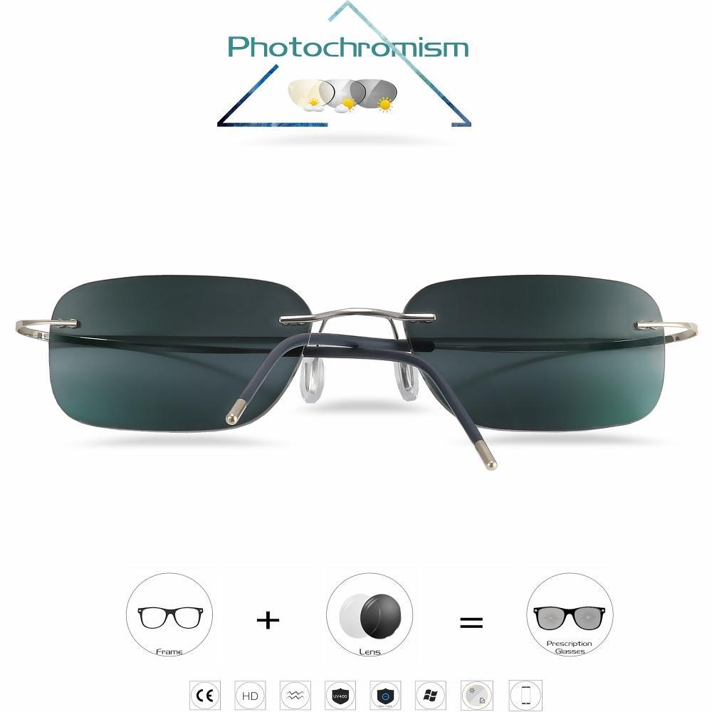All'ingrosso-titanio Lens Womon senza montatura occhiali miopia Occhiali fotocromatiche Uomini con diottrie -1,0 1,5 2,0 2,5 3,0
