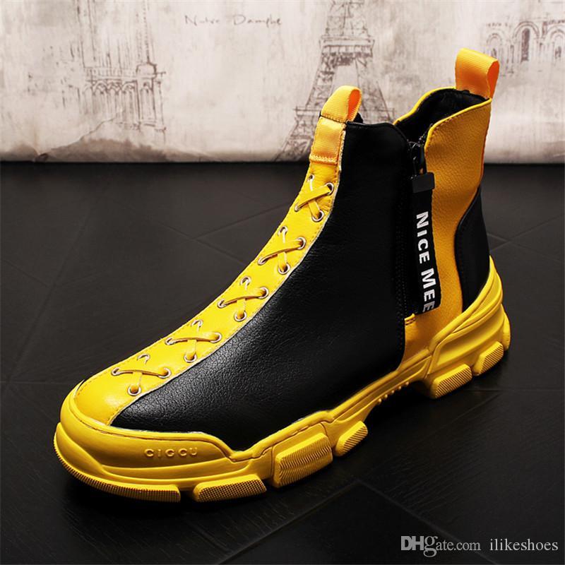 Cuero de los hombres de nieve botas de cuero suave Botas De Hombre Negro Amarillo botas de los hombres 7 # 20 / 20d50