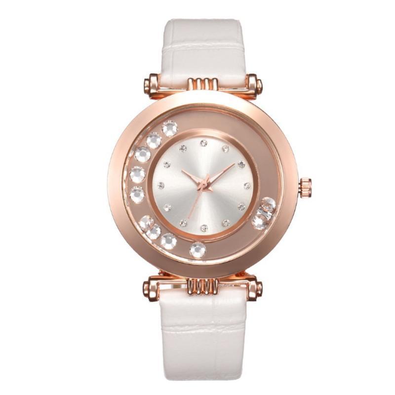2020 Frauen-Uhren Strass Zifferblatt Damen-Analog-Quarz-Armbanduhr-Geschäfts-Leder-Bügel für Geschenk-Kleid Uhr Zegarki Damskie