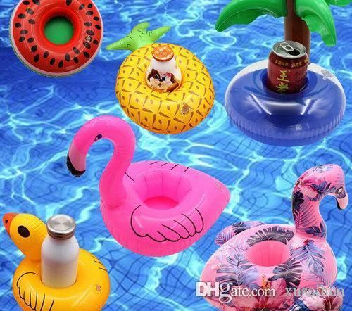 Inflatable Toy Drinks Cup Holder Watermelon lemon flamingo Pool Floats Coasters Flotation Devices For Kid Children Pool parties Bath Toy