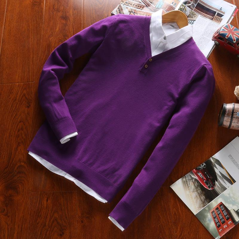 Roupa Ocasional V-pescoço dos homens dos homens pulôver camisola de mangas compridas 2019 Outono Nova Chegada Multi Color por Homem