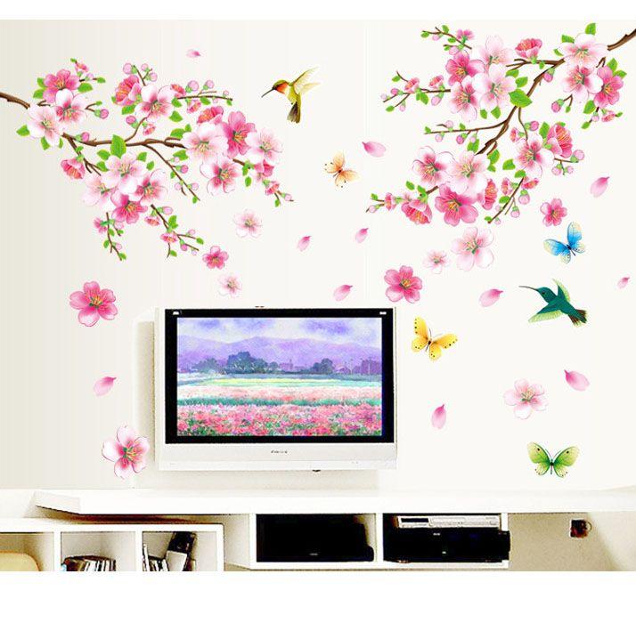 1 قطعة 60x90 سنتيمتر حجم كبير أزهار الكرز زهرة ملصقات الحائط للماء غرفة المعيشة جدار الشارات الديكورات الجداريات المشارك