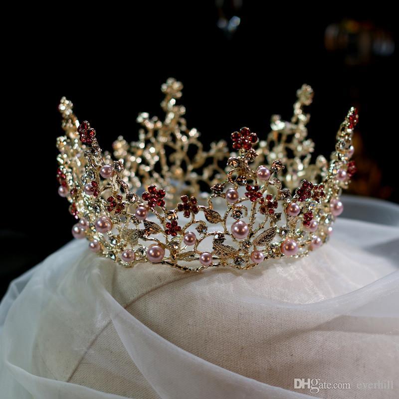 JaneVini Luxuoso Ouro Princesa Coroa Cor De Rosa Pérolas Cristais Vermelhos De Noiva Acessórios Para o Cabelo Crianças Coroa Festa De Aniversário De Casamento Bolo Headpieces