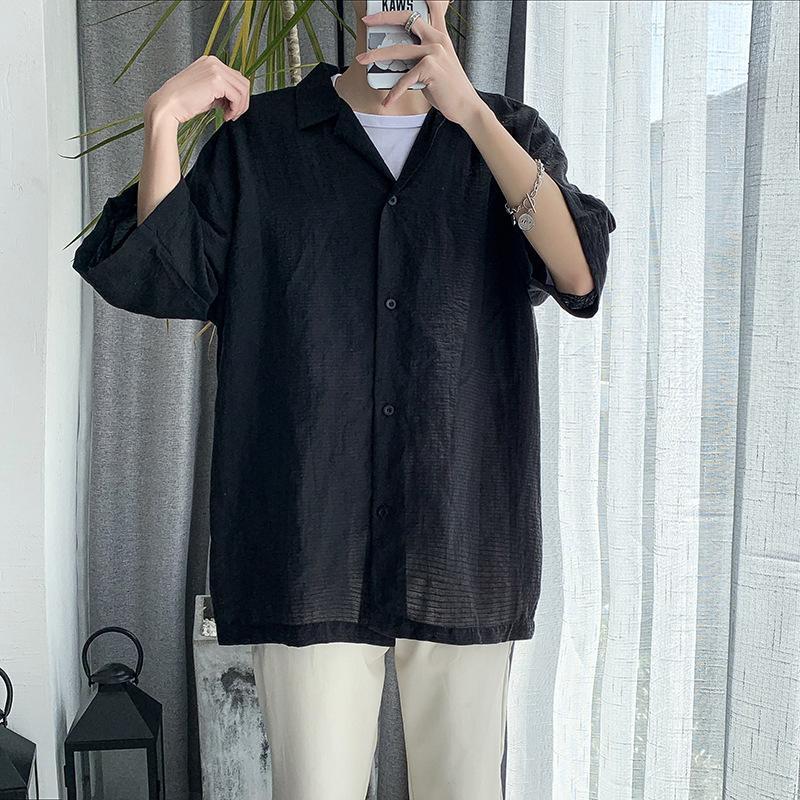 E-Baihui 2020 été demi-shirt à manches longues de grande taille Cinq points Hommes Chemise à manches Veste mince mi-manches simple crème solaire HB20