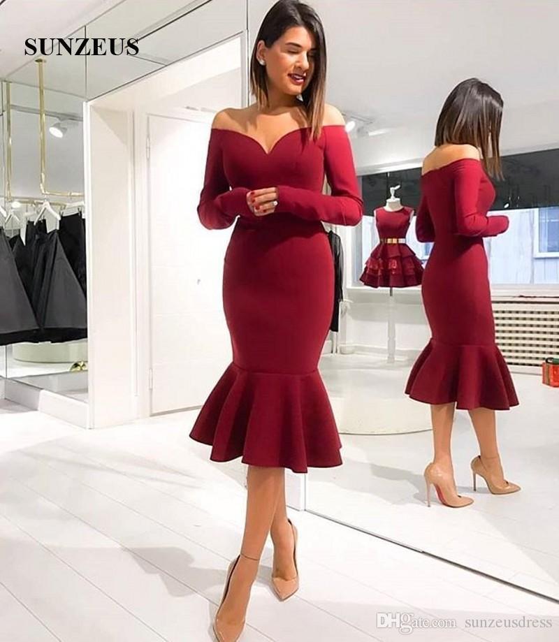 Şarap Kırmızısı Denizkızı Parti Elbise Off Omuz Uzun Kollu Kadınlar Abiye Çay Boyu Basit Zarif Speical Durum Önlükler