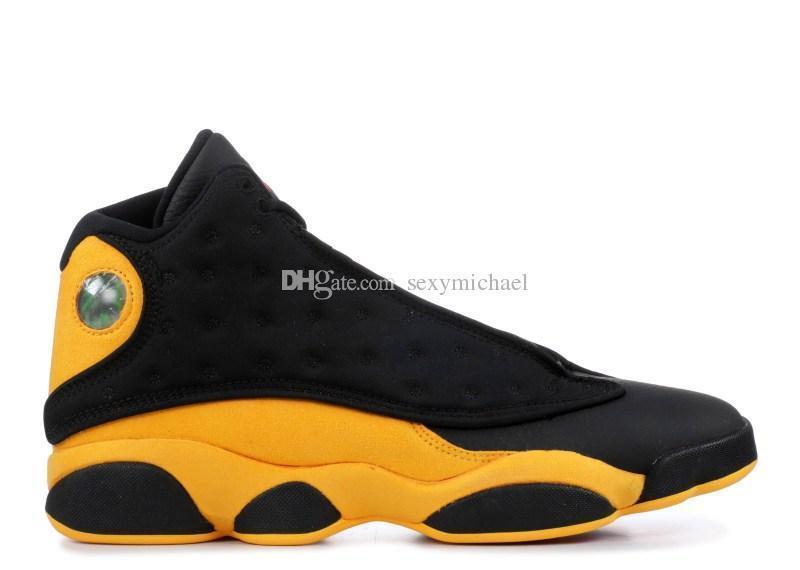 Pe Melo Top Factory Versión 13 Real Carbon Fiber 13s Negro Amarillo Zapatos de baloncesto de alta calidad Zapatillas de deporte para hombre Zapatillas de deporte nuevas
