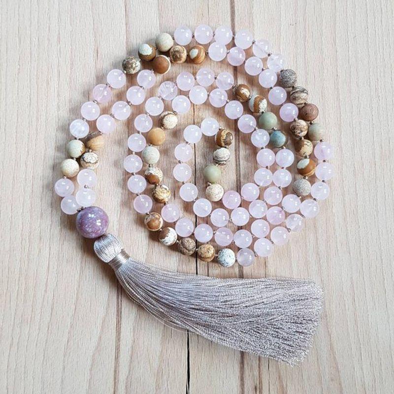Yoga Mala Perles 108 Collier 8mm Photo J-asper Et Rose Q-uartz Collier Noué À La Main De Pompon Colliers Yoga Jeweley Cadeau