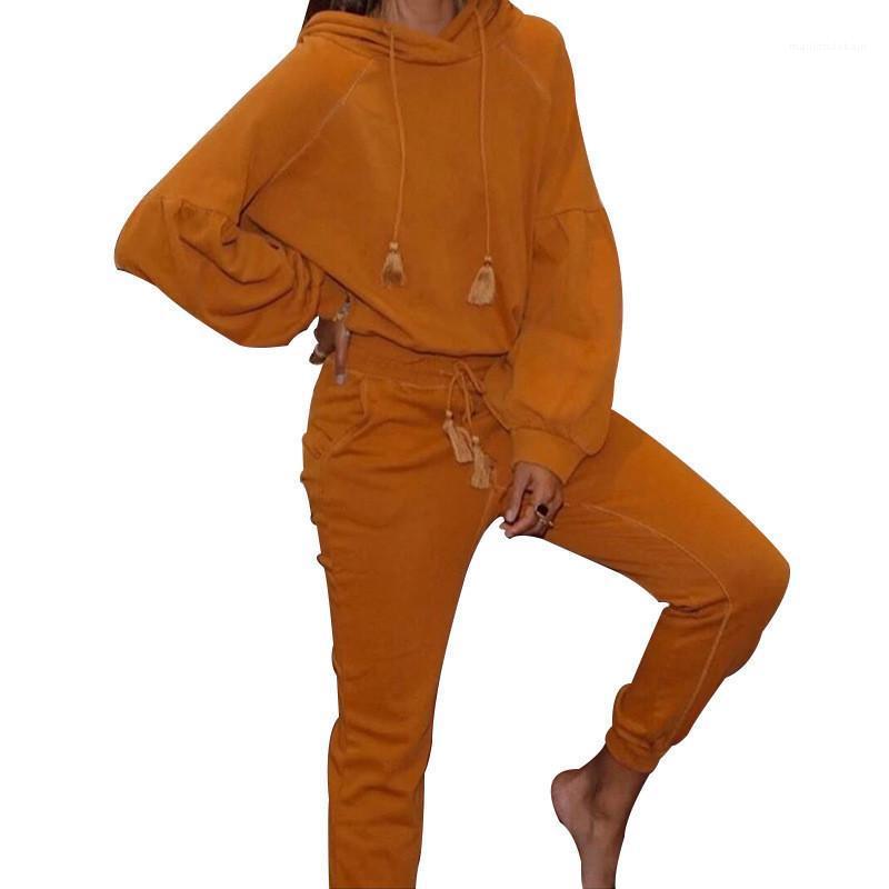 Designer Kleidung Frauen beiläufige Hoodies Tracksuits Solid Color Langarm mit Kapuze 2 Stück Sets 20ss neue Frauen