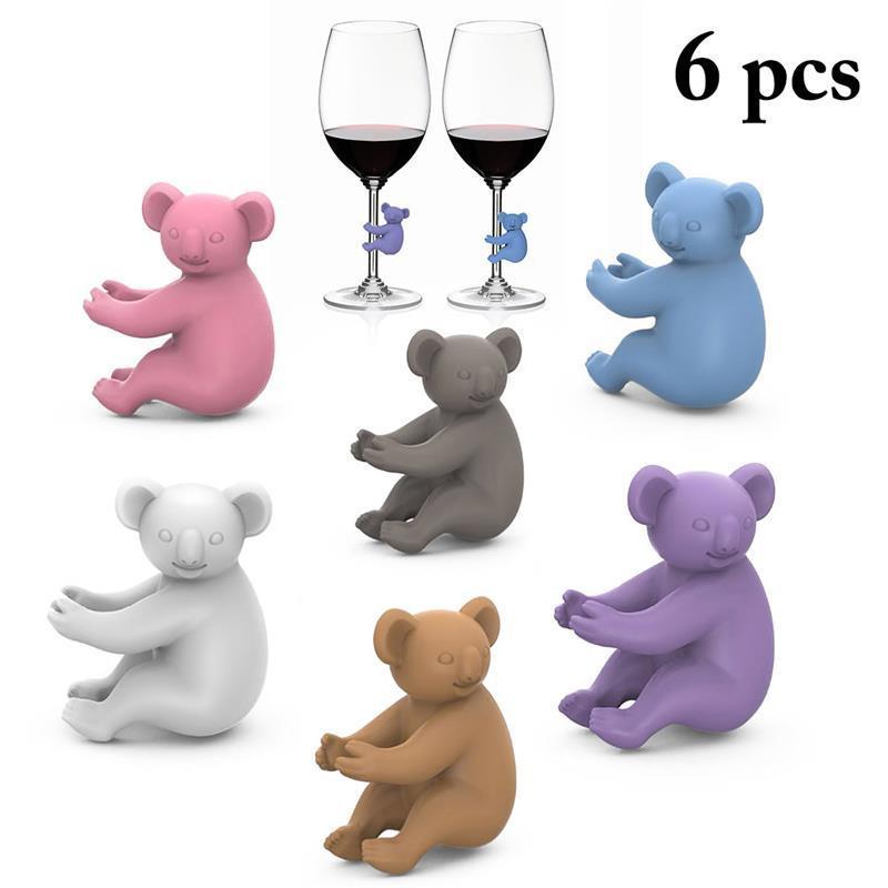 كوالا كأس التعرف النبيذ الزجاج كأس سيليكون معرف الكلمات حزب النبيذ الزجاج علامة مخصصة 6PCS / مجموعة