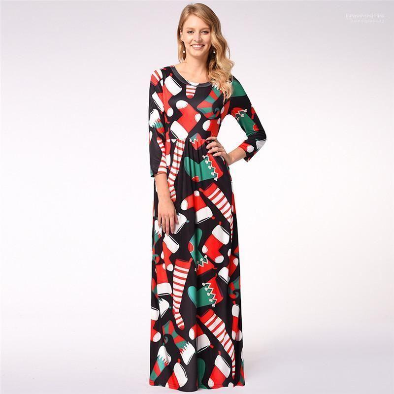 Lässige Pullover Frauen Kleidung der Frauen beiläufige Kleider Weihnachtstag Mode Weihnachtsstrümpfe Drucken Panelled Damen Kleider