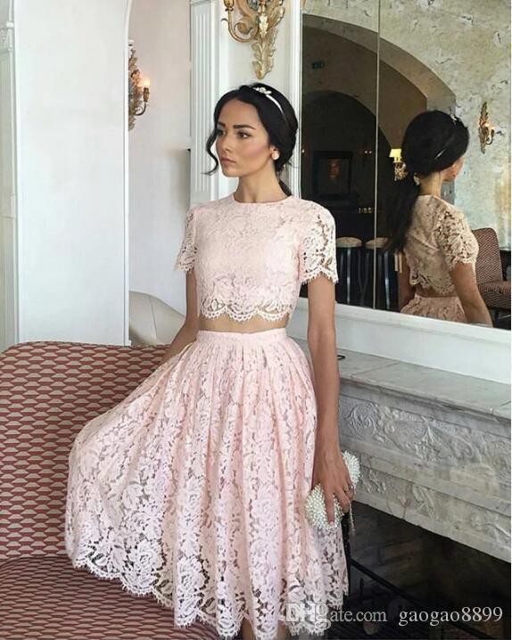 image réelle africaine Styles retour à la maison arabe courtes robes deux pièces de dentelle Robes formelles pour Party Robes de soirée pas cher vendre LF043