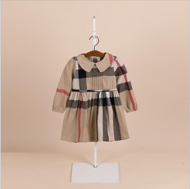 Meninas vestido 2019 INS NOVO Moda crianças primavera novos estilos manga comprida de algodão de alta qualidade gola do vestido xadrez 3 cores