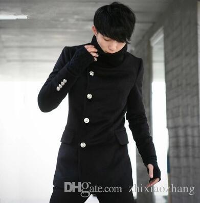 Stand collar casual woolen coat men trench coats long sleeves overcoat mens cashmere coat casaco masculino inverno erkek england
