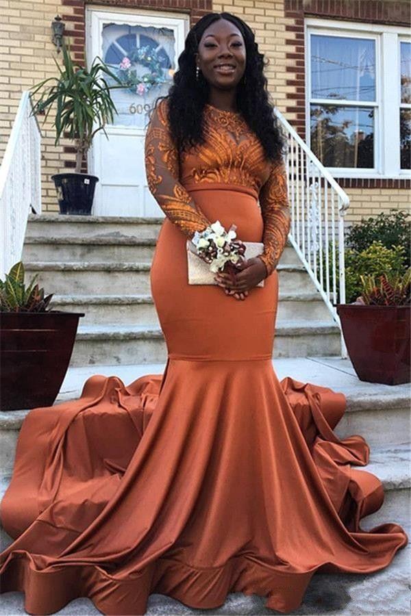 2019 Vestidos de noche de sirena de color naranja sexy Use apliques de encaje de satén Ilusión Manga larga Negro niña Vestido de fiesta extra grande Vestidos de fiesta