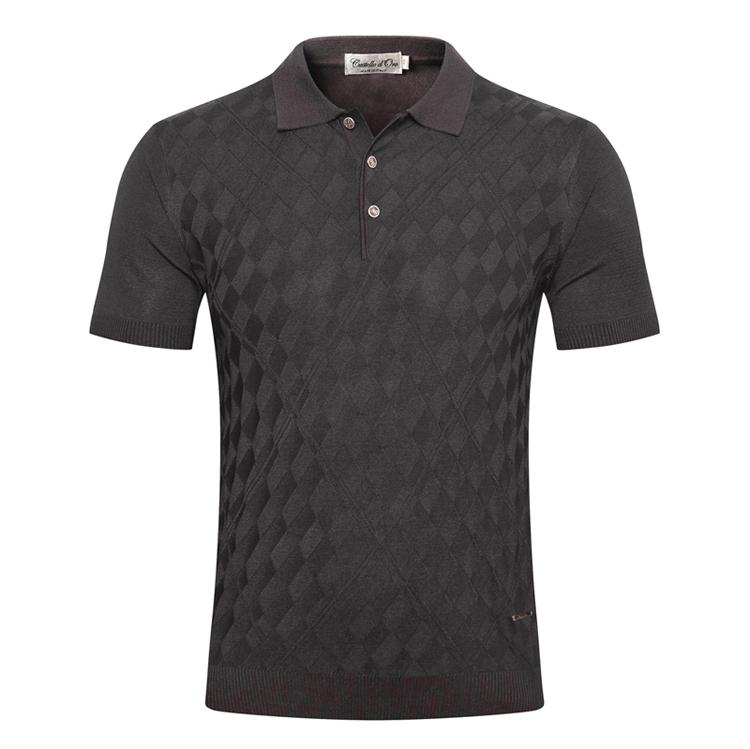Mince d'oro Big Shirts Summer Short New Shirt Hommes 2021 Zipper Silk Business M-5XL Polo Manches Élasticité Taille Casual Taille Castello Broderie IMWA