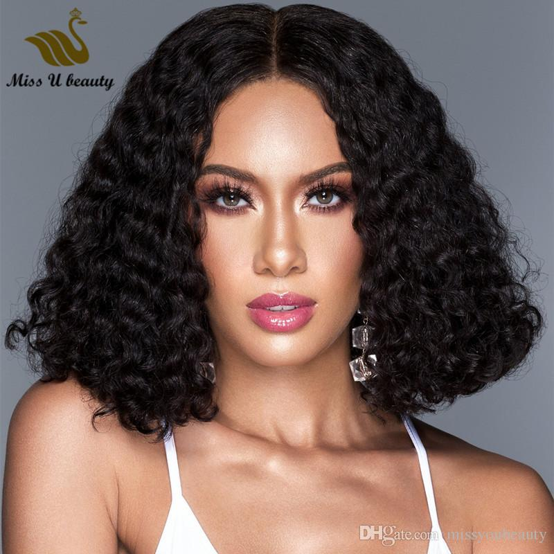Bob Style Curly Human Hair Lace Wig Water Wave Wavy Shoulder Length Full Front Lace Wig 12-14inch Virgin Hair Wigs 150% Density