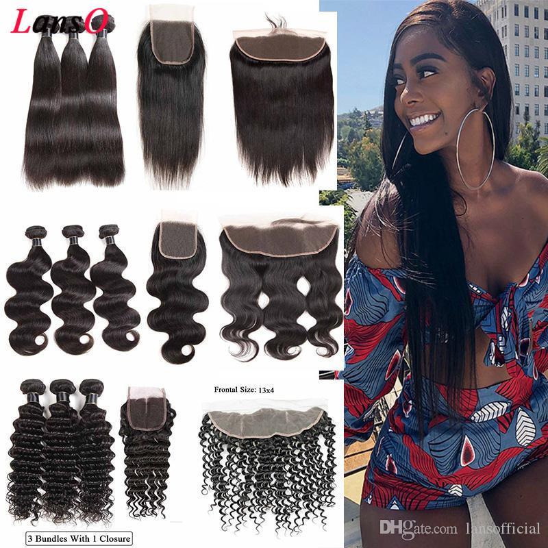 9A péruvienne corps droit vague Virgin homme Tissages cheveux 3 Bundles avec dentelle 4x4 Fermeture Bundles cheveux avec dentelle fermeture 4x4