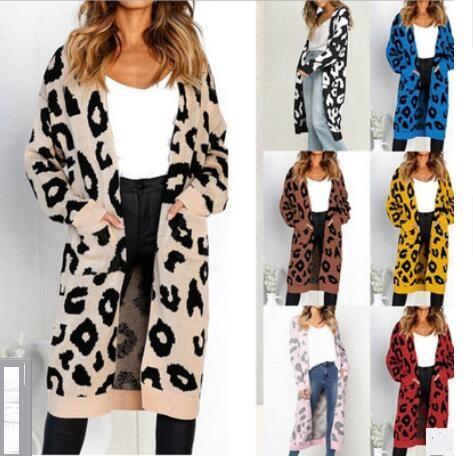 2020 Frühling und Herbst Außenhandel Frauen neue Leopard Strickjacke Strickjacke Strickjacke Mantel europäischen und amerikanischen Stil lange Strickwaren