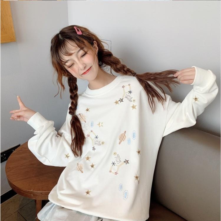 A0yro женщины # вышитого мультфильм свитера белого B1417 рукав нового студент корейски рыхлой bfstyle длинного пуловера пуловеры осень верхняя