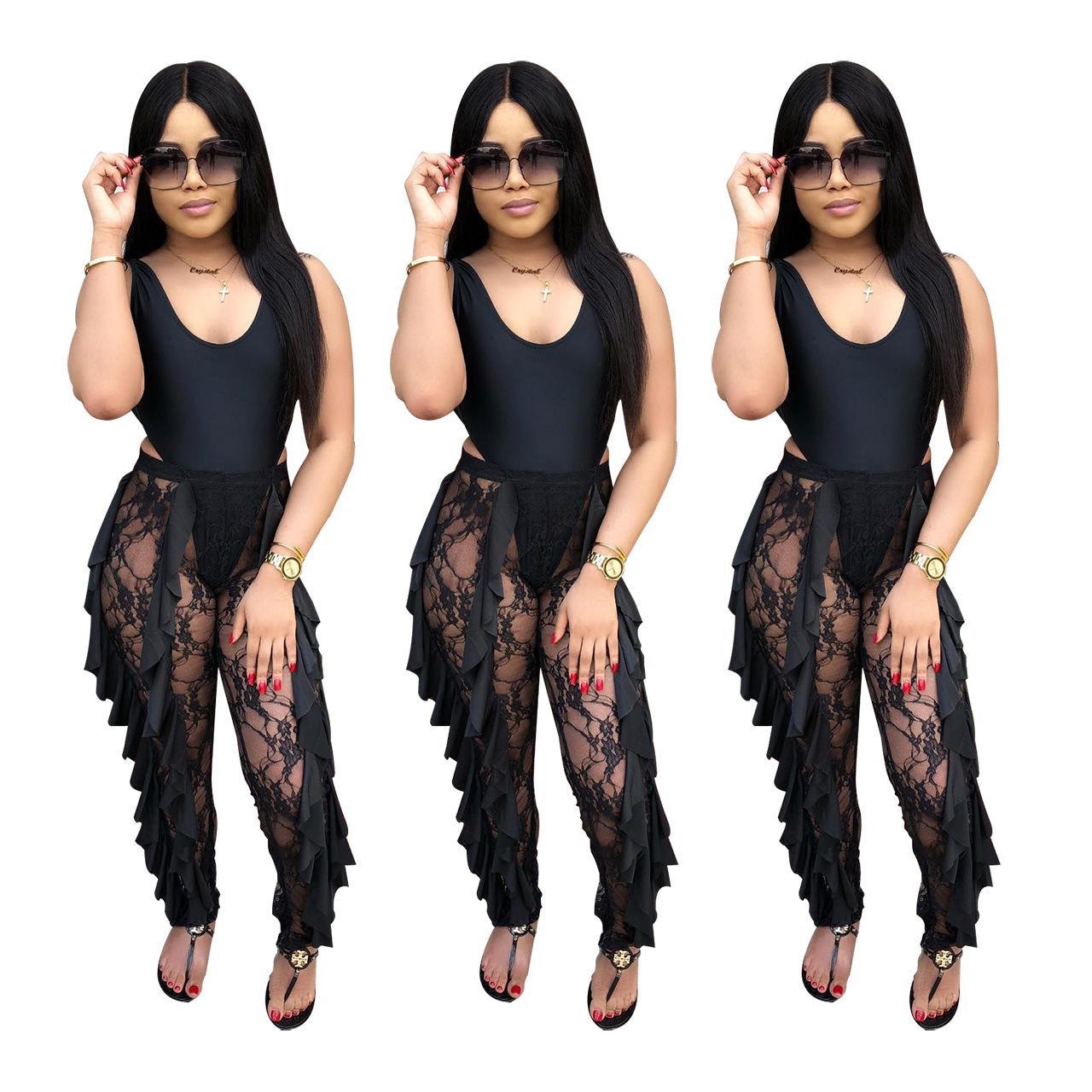 2019 Pantaloni da donna estivi Lunghi in prospettiva neri Pantaloni attillati da donna per abbigliamento da donna Pantaloni attillati Pizzo sexy Capris S-XL