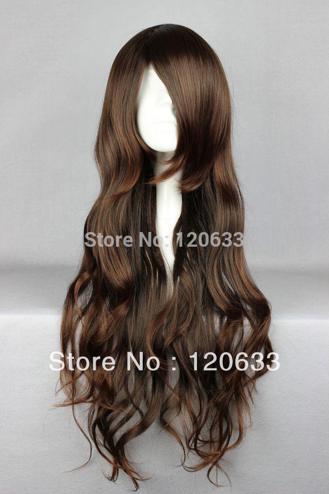 Venta al por mayor Hair Nature Cheap 100% Kanekalon 65cm Long NO.6-Inukashi Marrón oscuro Cosplay peluca de disfraces