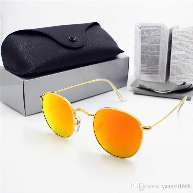 Femmes Nouveau 1 pcs Objectif Mode Haute ronde Haute Rond Retro 50mm Gold UV400 Bleu Verre Black Cadre Black Cadre Sunglasses Protection Qualité Case DMOXJ