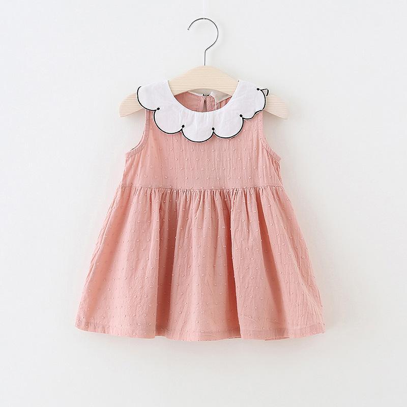 Crianças roupas de grife meninas Verão Sem Mangas Gola Redonda Boutique Cor sólida 100% algodão Projeto menina Vestido Lolita