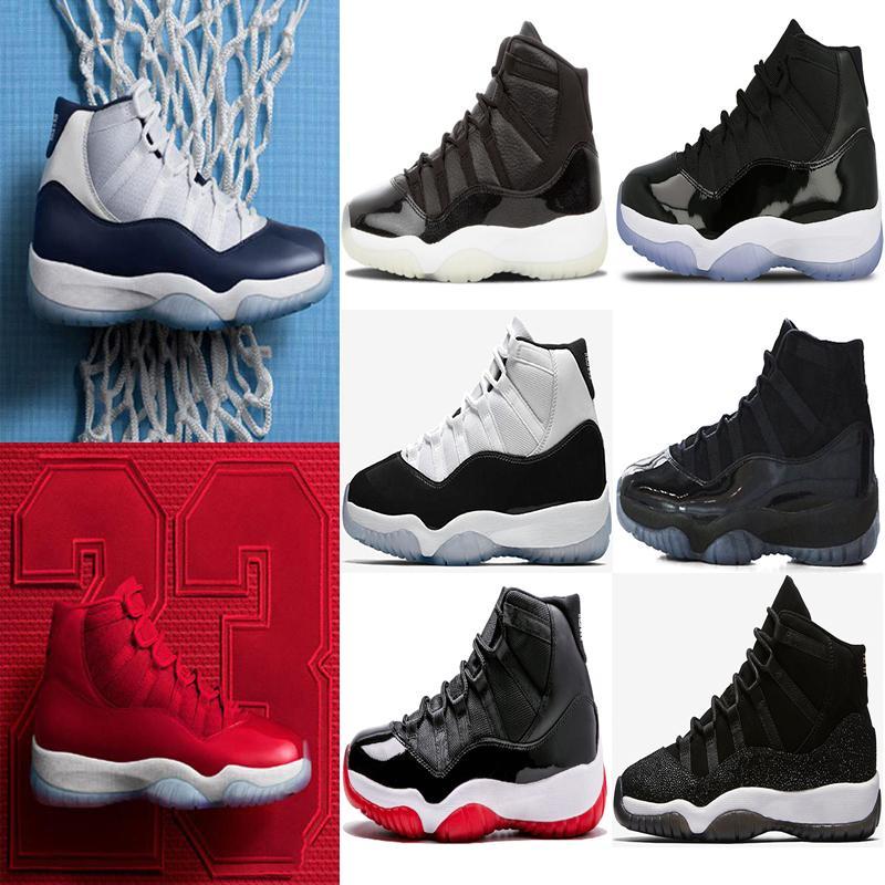 11 Tampão e vestido homens mulheres Basketball Shoes 11s Prom Night concórdia preto Sneakers Gym Red Space Jam gama sapatos azuis esportes