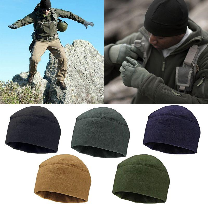 New Men Women Unisex army Solid Color Soft Warm Cap Polar Fleece Thickened Military Army Beanie Hat Windproof Outdoor Hat