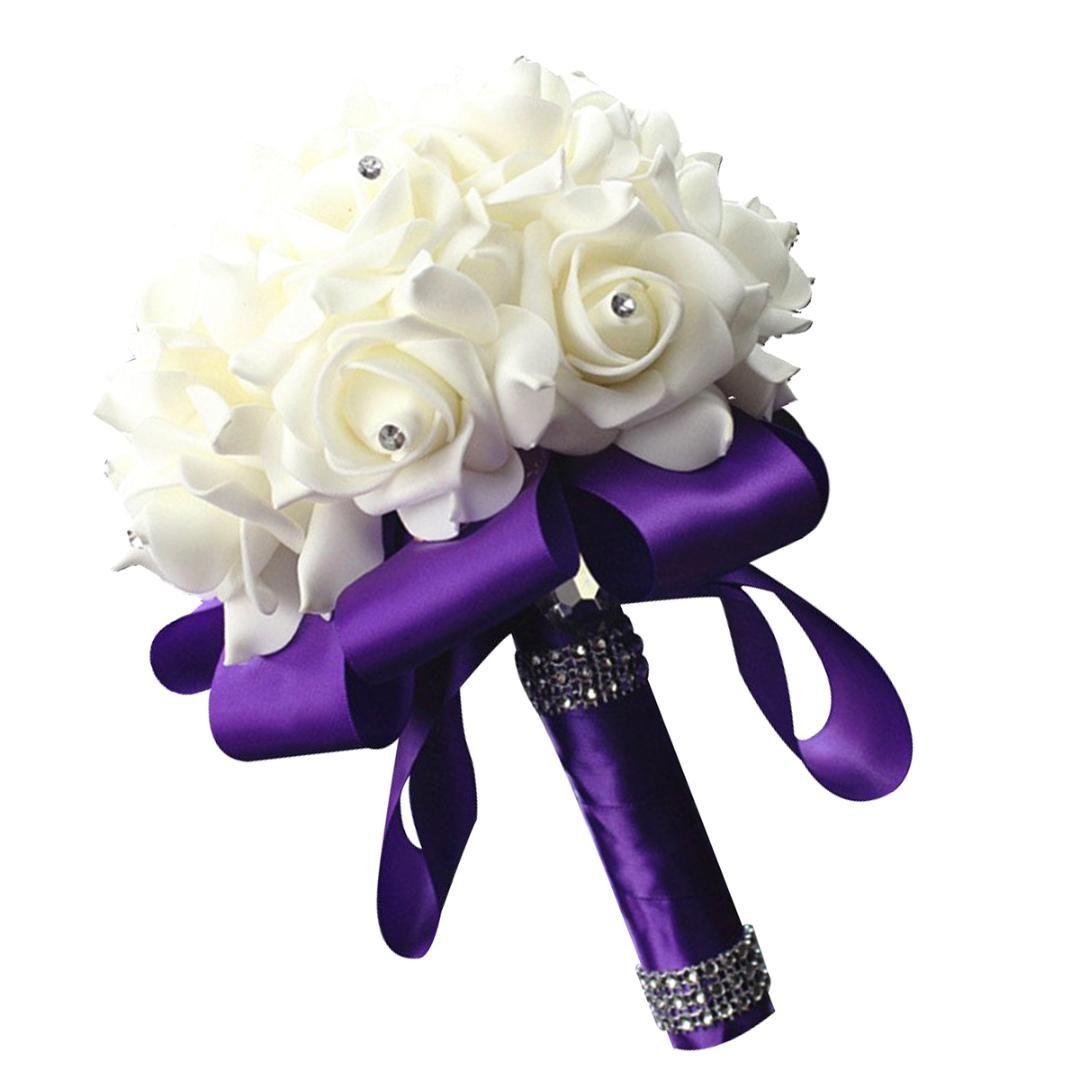 New Wedding Bouquet Ribbon PE Foam Artificial Flowers Bridal Bridesmaid Hand Bouquet Bride Foam Holding Flowers Wedding Supplies
