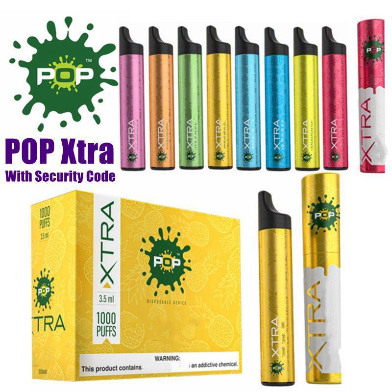 Dispositivo Instock POP Xtra monouso con 3,5 ml Codice di Sicurezza Pre-riempita Pod 1000 puff monouso Vape VS Bidi Stick PUFF PLUS Pop Più
