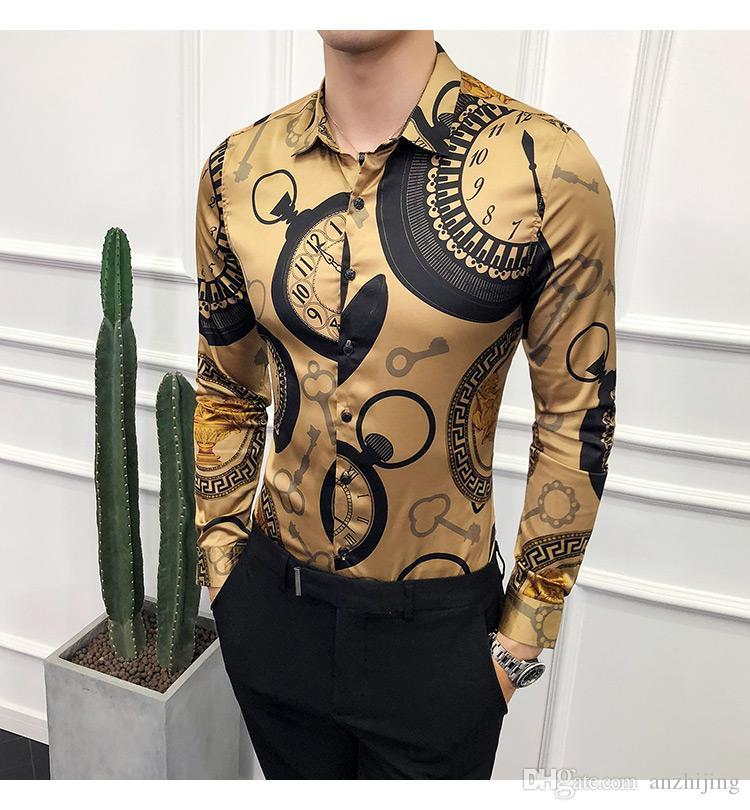 Medusa diseñador de moda de las camisas del Mens Social Club Oro de lujo camisa de la impresión del oro del Mens ajuste delgado Negro Camisa Masculina 2019 Nuevo