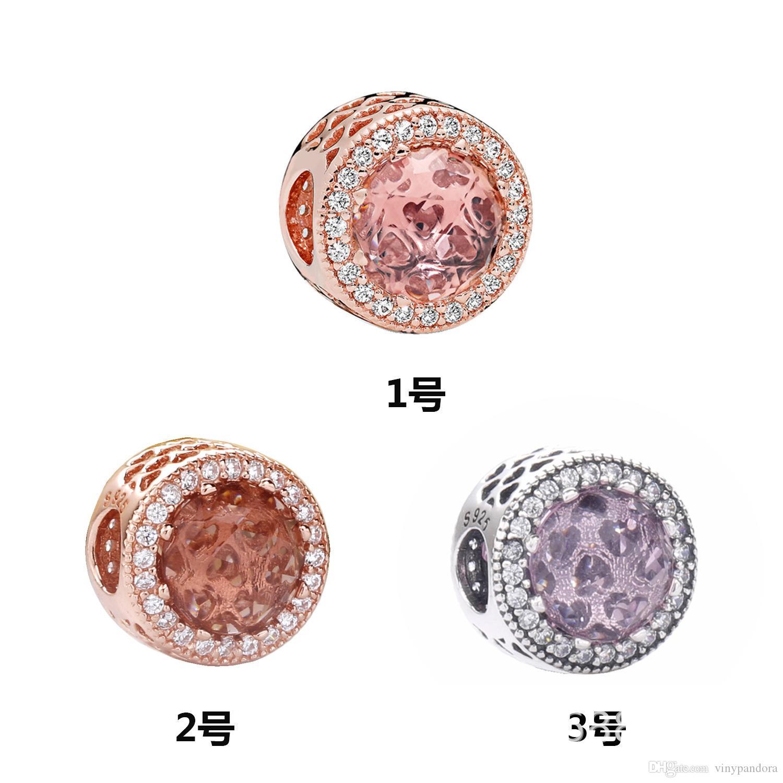 925 coeurs en argent sterling Radiant avec Cristal Charm Perle Fits Bijoux Europe Pandora Bracelets et colliers
