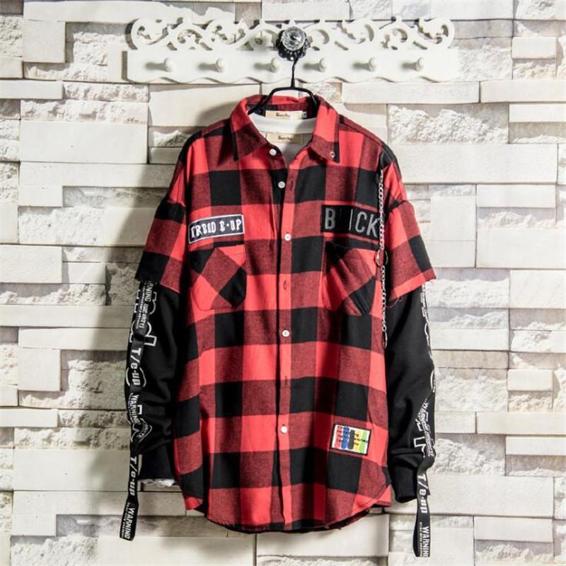 Schwarze und rote Plaid Patchwork Shirt Männer Hip Hop Checkered koreanische Art und Weise Street Männer Shirts zuknöpfen Punk Mens Dress Shirts