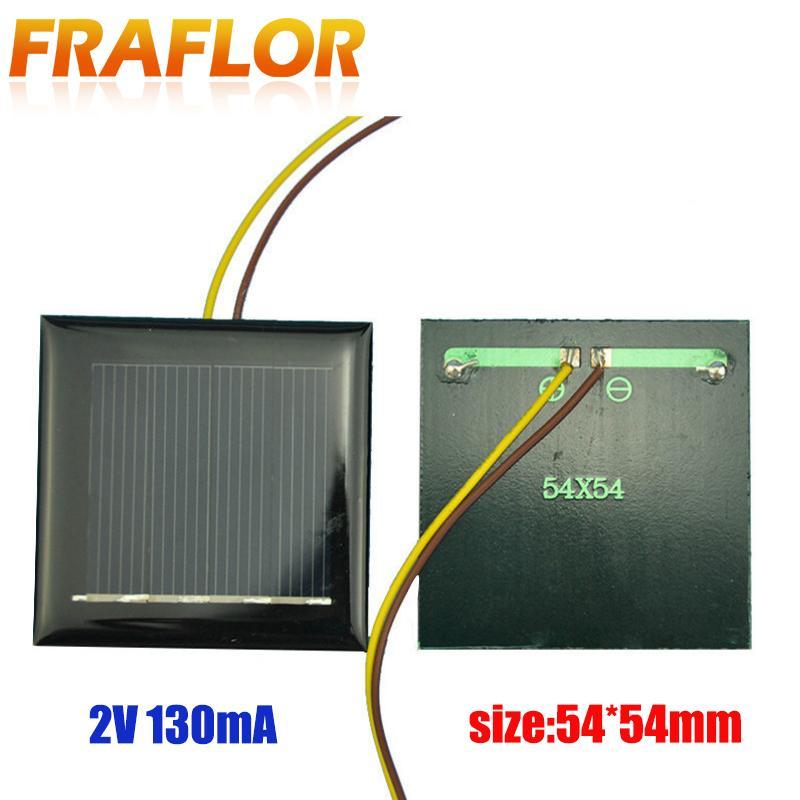 بطاريات الخلايا، لوحة 2PCS 2V 130MA 54 * 54 * 3MM Polycrystallin الطاقة الصغيرة خلية شمسية على الطاقة الشمسية LED ضوء DIY لعبة 1.2V