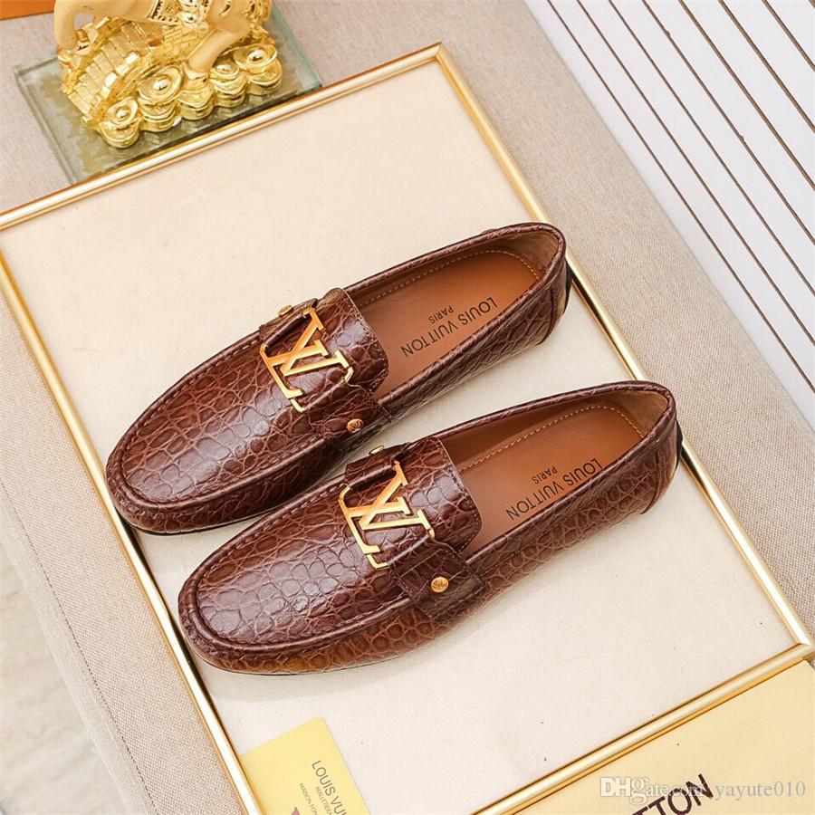 Modas auténticos mocasines de cuero de los hombres de los hombres en punta del dedo del pie zapatos de vestir de vestir de negocios slip-on de los hombres zapatos de boda