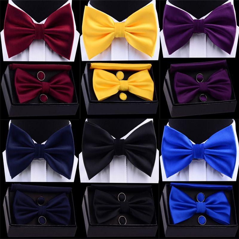 Men's Silk Adjustable Pocket Square Cufflinks Bow Tie Set Waterproof Solid Plain Bowtie Handkerchief Set with Box
