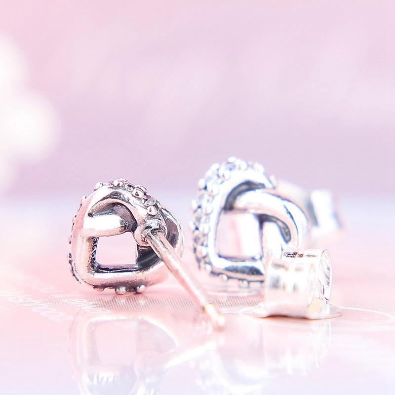 Großhandels-Herz-Bolzen-Ohrringe verflochtenen Luxusdesignerschmuck für Pandora Sterlingsilber 925 Frauen Liebes-Bolzen-Ohrringe mit Box