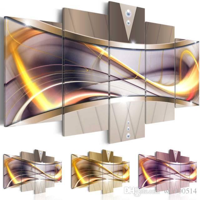 Mode Mur Art Toile Peinture 5 Pièces Gris Jaune Violet Abstrait Or Ligne Moderne Décoration de La Maison, No Frame