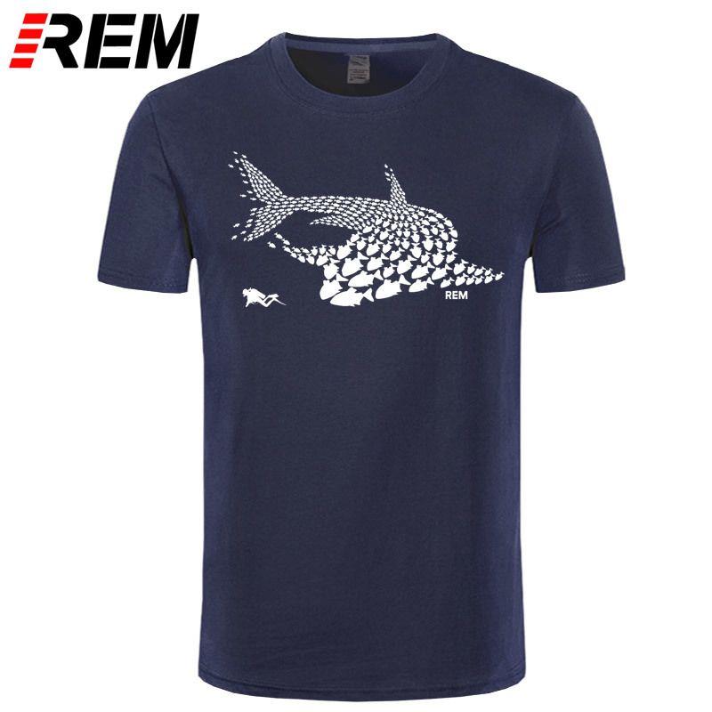 Plongée sous-marine Poisson Shark Diver réservoir de plongée masque drôle de cadeau d'anniversaire t-shirt T-shirt frais fierté Casual hommes t-shirt unisexe de mode T-shirt MX200509