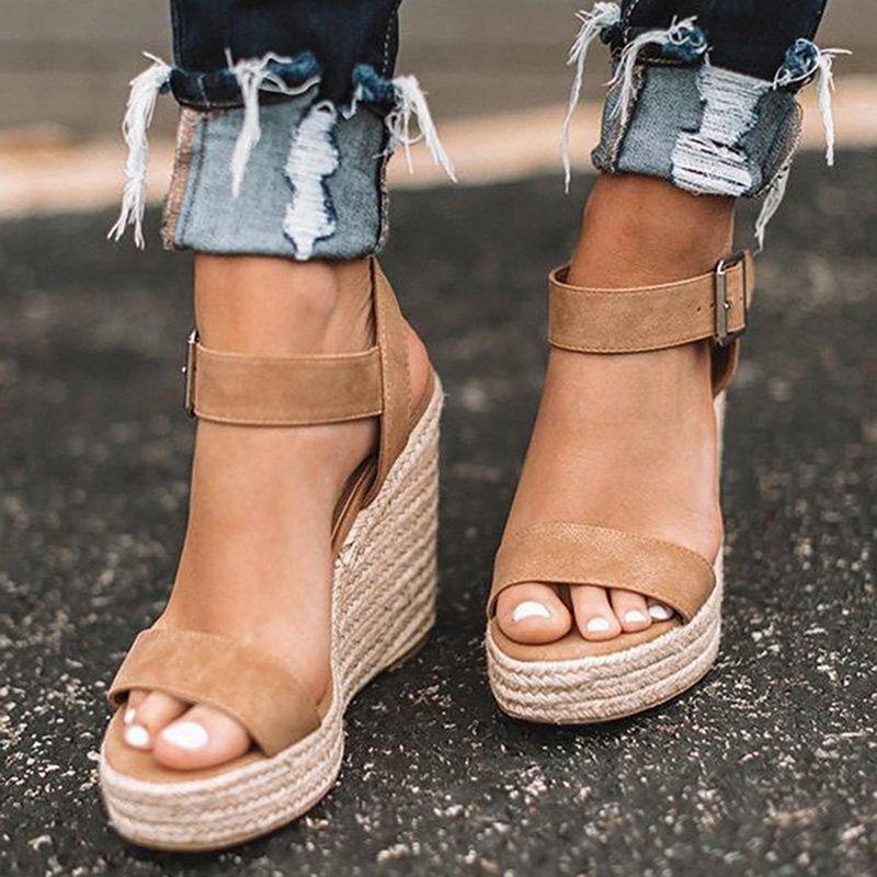 Сандалии на высоком каблуке обувь женщин летний клин женская мода пряжка открытые пальцы дамы Chaussures Femme